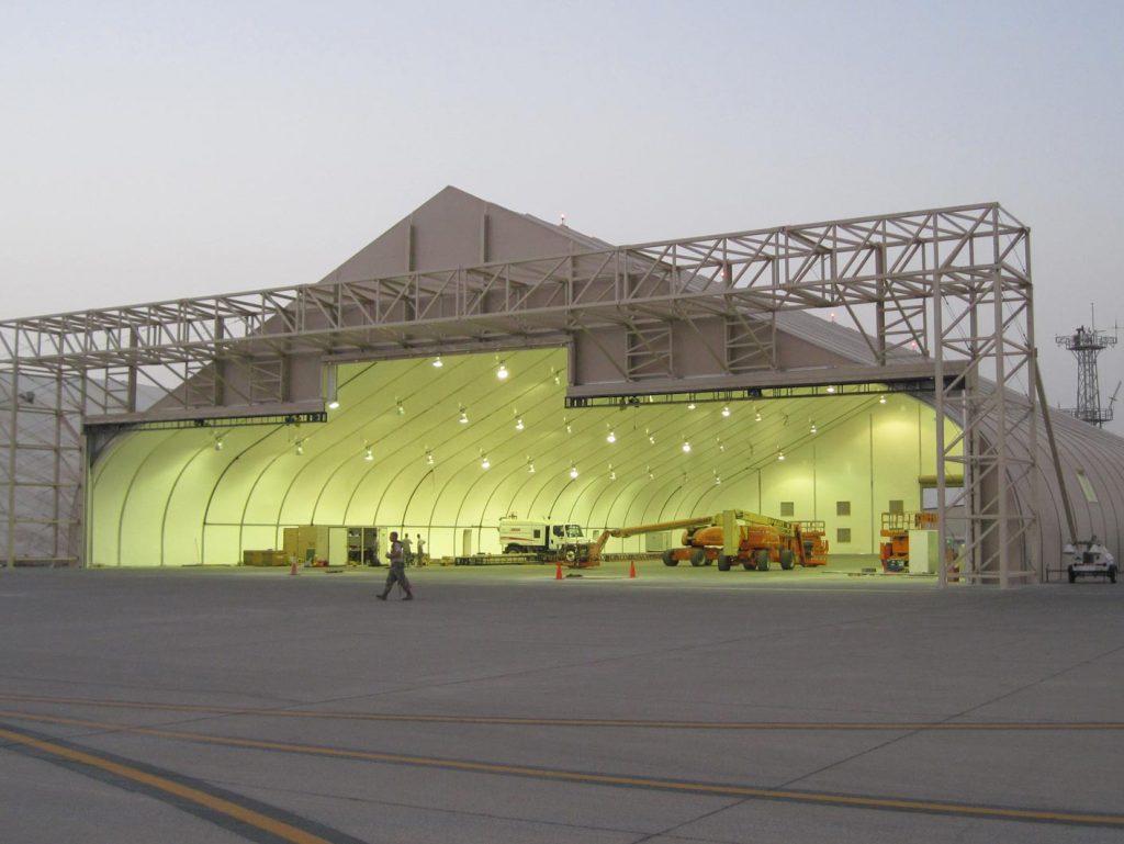 Sprung modular construction military hangar