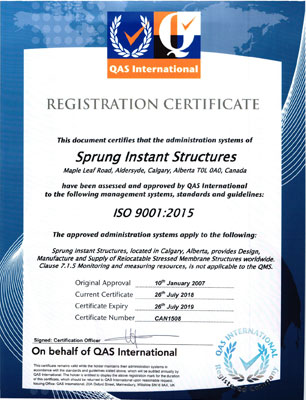 Sprung Instant Structures ISO 9001:2015 -Canada