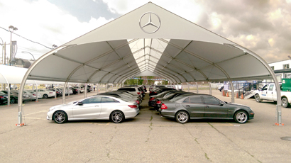 Mercedes Dealership Hail Shelter