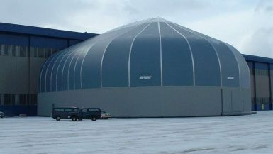 Sprung Aircraft Tail Cover portable building for hangar expansion