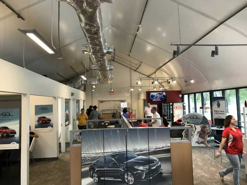 Sprung temporary structure is perfect for interim car dealerships undergoing renovations or a new car dealership wanting to start early while the new dealership is being built.