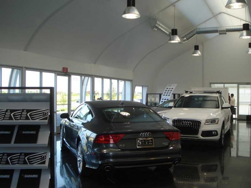 Sprung fabric building is perfect for interim car dealerships undergoing renovations or a new car dealership wanting to start early while the new dealership is being built.