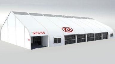 rendering of KIA interim dealership modular structure