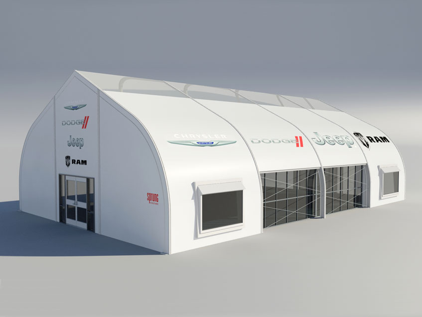 Rendering of fabric structure with graphic branding.