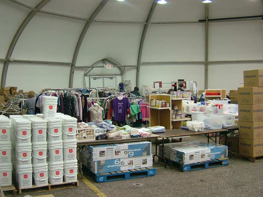 Hurricane Katrina Salvation Army Distribution center - temporary fabric warehousing