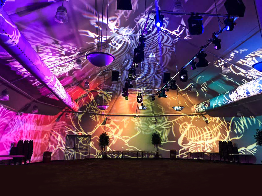 Cincinnati Zoo fabric structure has a bright white interior lining which allows lovely light shows on the interior walls.