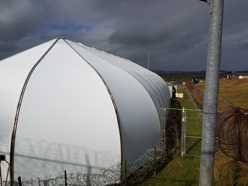 Sprung Structures Guam Code: 170 mph as per IBC 2009 INS Detention Facilities Originally purchased in 1999, survived Super Typhoon Pongsona in 2002.