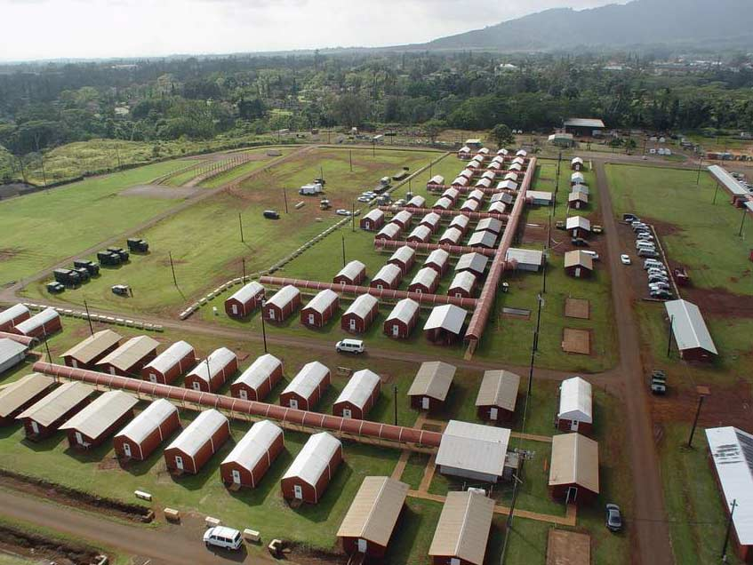 Sprung Structures Oahu, Hawaii Code: 145 mph as per UFC-301-01 Schofield Barracks Army installation and home base of the 25th Infantry Division. The base occupies over 17,000 acres and houses over 16,000.