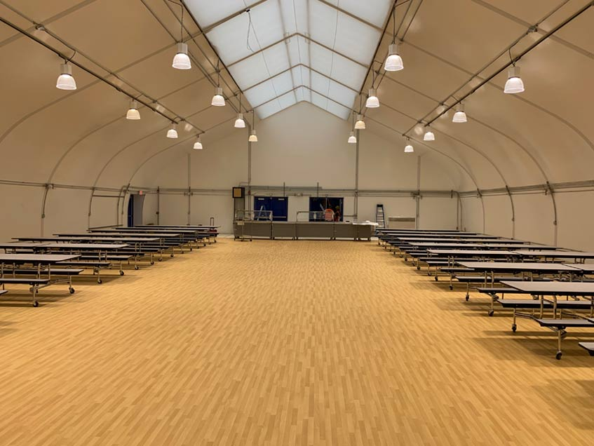 Sprung Structures St. Croix, US Virgin Islands Code: 175mph as per IBC 2018 Virgin Islands Department Education After the devastating Hurricane Irma and Maria of 2017 many schools were decimated. Seven gymnasiums and two kitchens were re-built using Sprung structures.