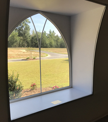 Sprung structure gothic window interior view in a tensile structure