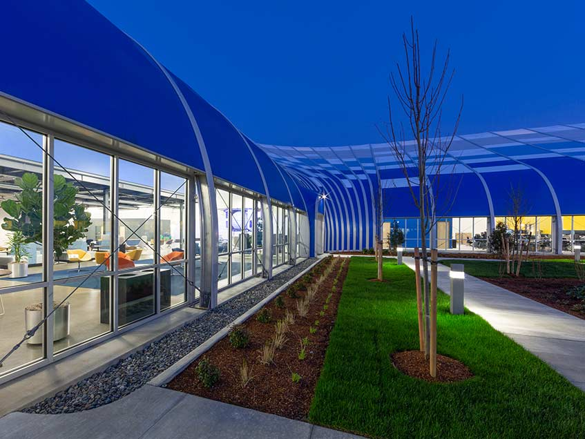 Offices and research and development center in a tensile structure
