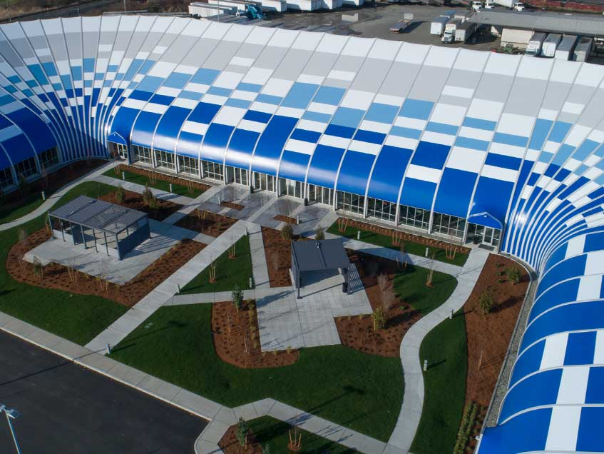 Blue Origin headquarters in Kent, Washington in a prefab building.