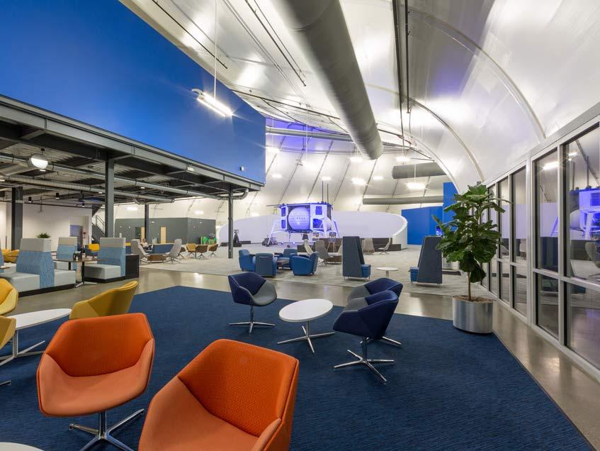 Blue Origin headquarters in Kent, Washington in a tensile building.