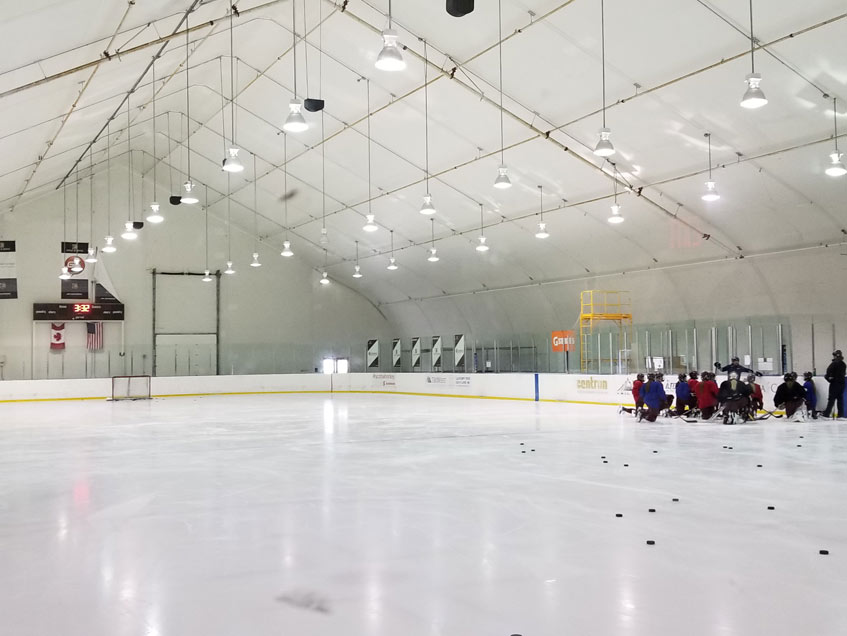 Edge School ice arena built for permanence and relocatable.