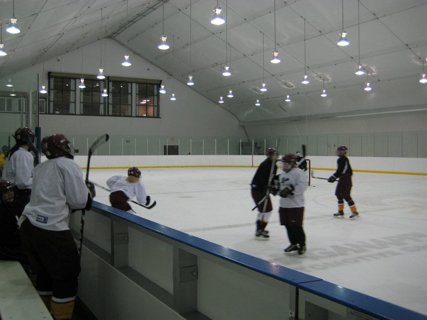 Edge School ice arena with second story viewing area.