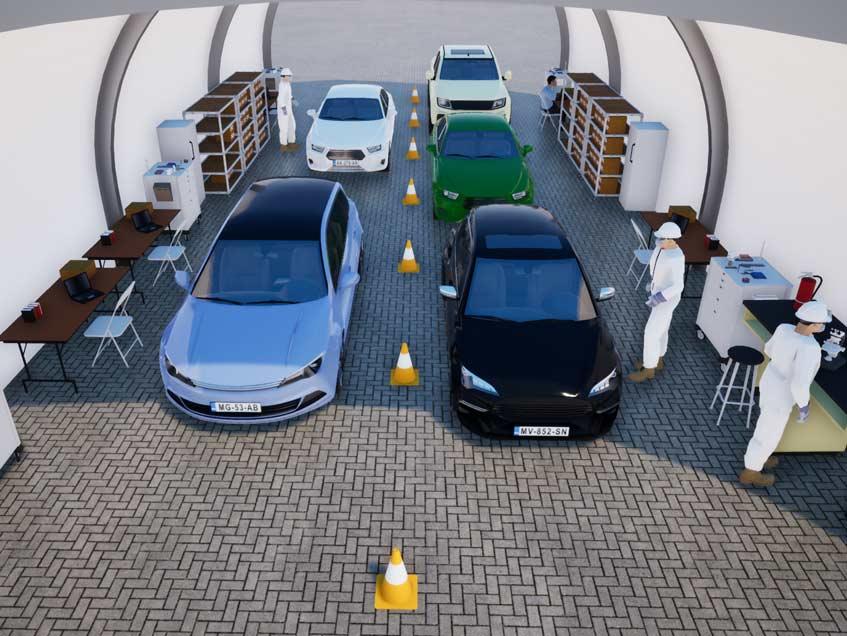 Drive-thru testing for COVID-19