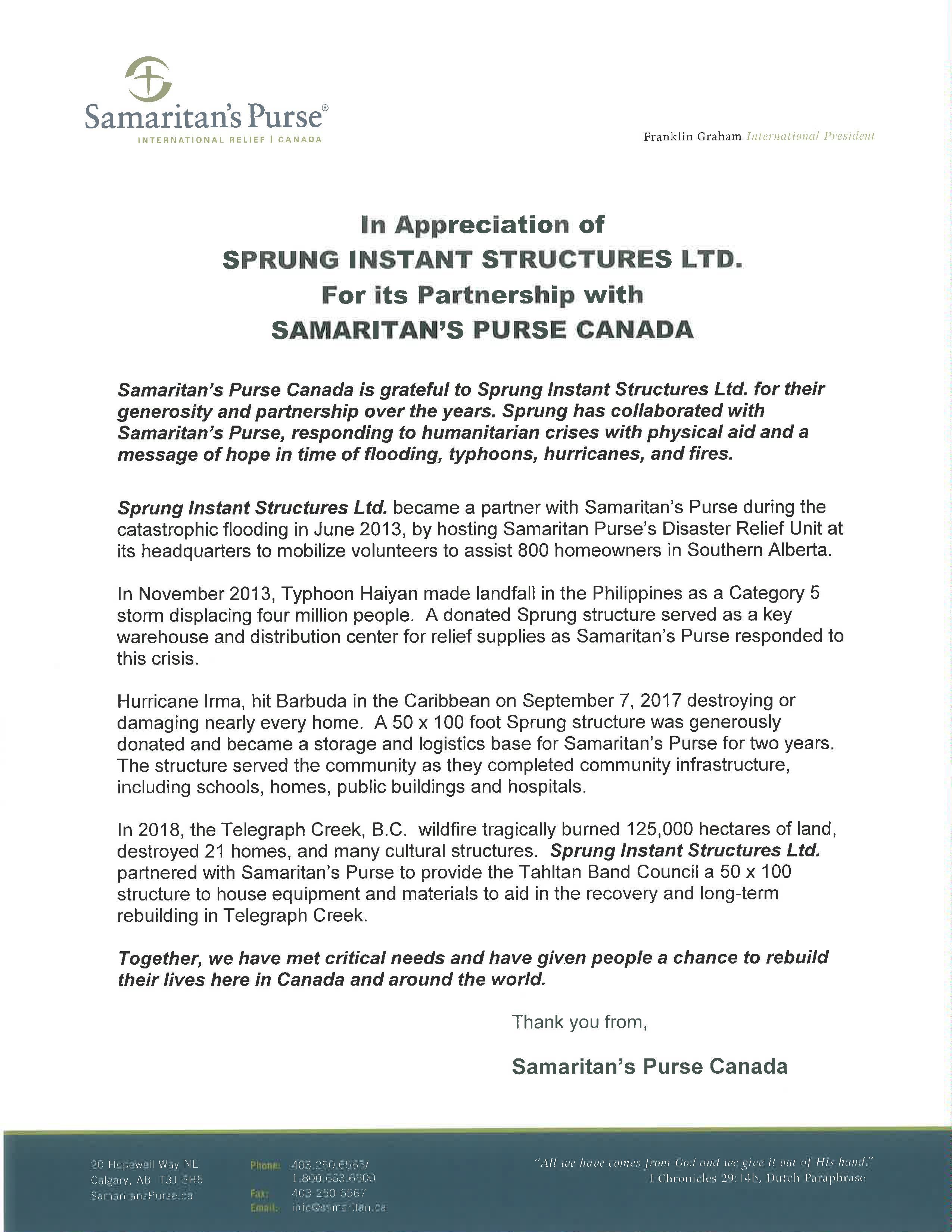 Samaritans Purse letter