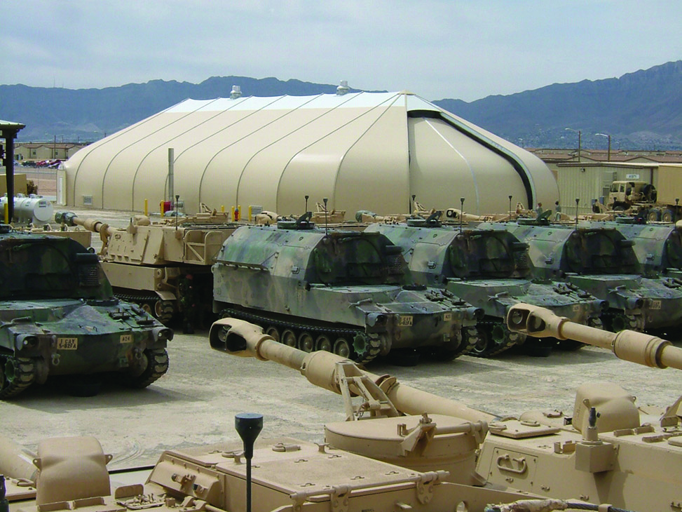 Sprung Structure used as a military shelter for vehicle maintenance